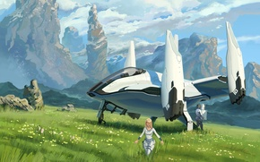 Picture field, grass, mountains, planet, art, spaceship