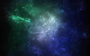 Picture space, stars, nebula, art, galaxy