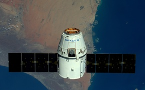 Picture surface, Earth, spaceship, transport, private, Dragon SpaceX