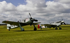 Picture field, the sky, war, fighters, Bf.109, world, Second, times, FW-190