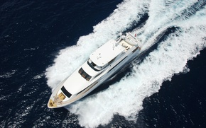 Picture sea, foam, trail, yacht