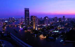Picture the sky, sunset, night, bridge, the city, river, skyscrapers