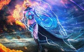Wallpaper elementalist, storm, magic, art, Guild Wars 2, water, girl, fire