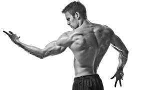 Picture sport, muscles, black and white, pose, gym
