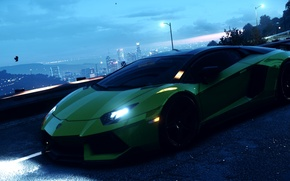 Picture city, green, lamborghini, nfs, aventador, brembo, hre, Need For Speed 2015