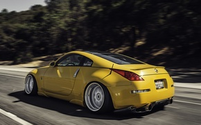 Picture road, yellow, speed, Nissan, 350z, Nissan, stance, in motion