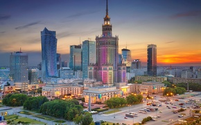 Wallpaper home, the evening, Poland, Warsaw, panorama, center, The Palace of culture and science