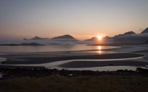 Picture Norway, Yttersand Beach, Morning Fog, Fredvang Lofoten Islands