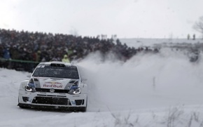 Picture Snow, Volkswagen, Turn, Skid, WRC, Rally, The front, Polo, Blur