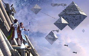 Picture the sky, clouds, people, bird, stars, wing, pyramid, spaceship, the new world, upper heights