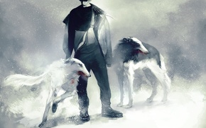 Picture winter, dogs, snow, anime, art, guy, Russia, Ivan Braginsky, Axis powers hetalia and Axis countries, …