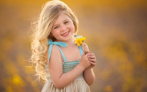 Wallpaper girl, mood, flowers, child