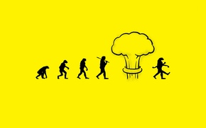 Wallpaper people, a nuclear explosion, evolution, mutation