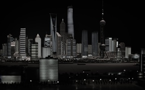 Picture water, night, the city, lights, building, skyscrapers