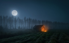Wallpaper the sky, light, night, house, the moon
