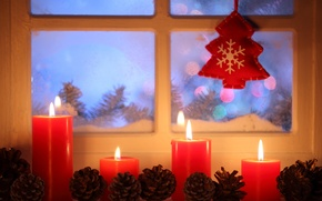 Picture winter, snow, New Year, Christmas, light, Christmas, window, Xmas, decoration, candle, lantern, Merry