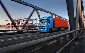 Wallpaper the speed of movement, shipping container cargo transportation, van trailer truck, tractor, bokeh, blur, wallpaper., ...