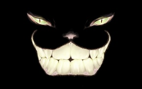 Picture eyes, smile, art, Cheshire Cat, Alice In Wonderland
