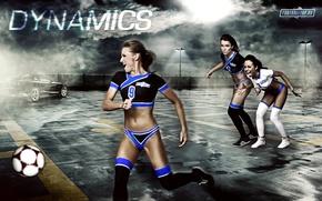 Picture girls, sport, the ball, dynamics, footbaltop