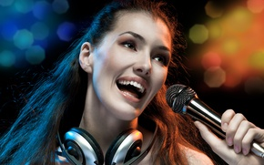 Picture girl, face, music, headphones, microphone, headphones, bokeh, sings