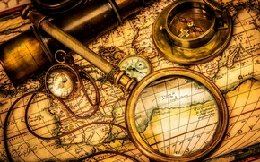 Picture vintage, romance, compass, watch, adventure, telescope, magnifying glass, sextant, treasure hunt, old map