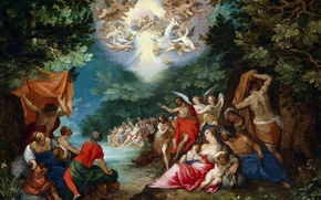 Wallpaper picture, religion, mythology, Jan Brueghel the elder, The Baptism Of The Lord