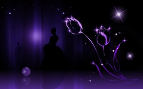 Picture girl, flowers, background, tulips, guy, silhouettes