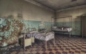 Wallpaper bed, hospital, chamber