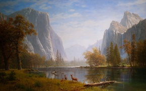 Wallpaper mountain, mountains, art, nature, trees, painting animals, waterfalls, tree, figure, water, drawings