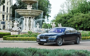 Picture car, lawn, BMW, track, fountain, mansion, 730d