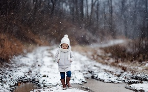 Picture winter, road, girl