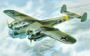 Picture aviation art, ww2, painting, art, german aircraft, drawing, war, Do-215B-4