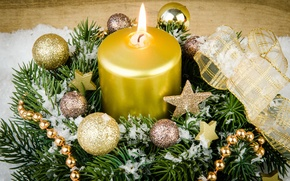 Picture snow, decoration, tree, candles, New Year, Christmas, gifts, Christmas, Xmas, decoration, gifts, Merry