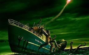 Picture ship, monster, rocket, Octopus