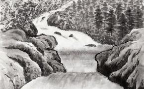 Wallpaper graphics, figure, Painting, rocks, trees, shore, river