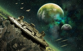 Picture green, spaceship, planet, construction