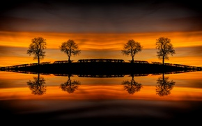 Picture water, trees, reflection, hill