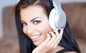 Picture eyes, look, girl, eyelashes, smile, model, headphones