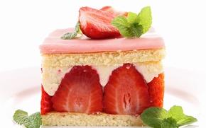 Picture strawberry, cake, mint, dessert, sweet