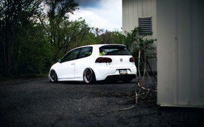 Picture Volkswagen, white, R32, Golf, MK6, Stance