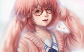 Wallpaper girl, smile, anime, art, glasses, Kyoukai no Kanata, mirai kuriyama, kwonchanji, kuon