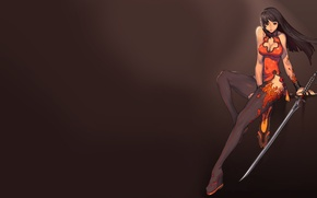 Picture girl, weapons, background, sword, outfit, Blade and Soul