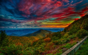 Picture the sky, trees, sunset, mountains, clouds, glow