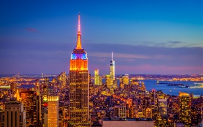 Picture the sky, clouds, sunset, lights, home, the evening, panorama, new York, USA, Manhattan, Empire State …