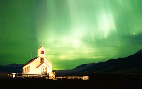 Picture night, Northern lights, chapel, Northern Lights