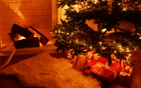 Picture decoration, toys, tree, New Year, Christmas, fireplace, Christmas, merry, Xmas, decoration, fireplace