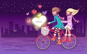 Wallpaper stars, night, bike, heart, lovers, love is