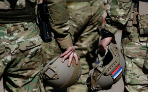 Picture style, flag, Army, form, Military, camouflage, Russia, helmets
