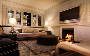 Picture furniture, interior, TV, fireplace, soft, living room