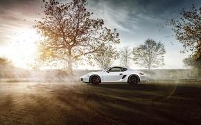 Picture Porsche, Sky, Sun, White, Side, Supercar, Cayman S, Skid